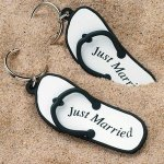 Just Married Flip Flop Key Rings (6 Pack)