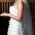 Satin Edge Veil with Scattered Pearls