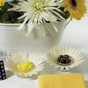 White Felt Daisy Candle Holders (Set of 4) image