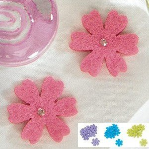 Felt Flowers with Diamonette Center - 4 Colors (Set of 36) image