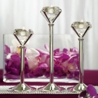 Diamond Shaped Silver Tealight Holders (Set of 3)