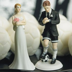 Soccer Playing Groom Mix and Match Cake Topper image
