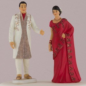 Indian Bride & Groom In Traditional Dress Cake Topper image