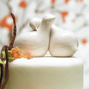Contemporary Love Birds Wedding Cake Topper image