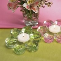 Glass Flower Wedding Favor Tealight Holders (2 Pack)