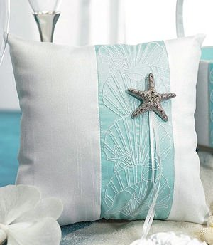 Seashell and Sand Beach Themed Ring Bearer Pillow image