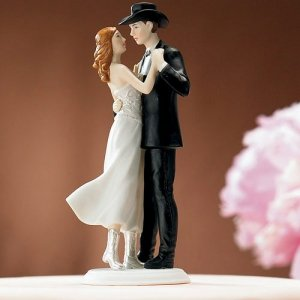 Country Western Cowboy Wedding Cake Topper image