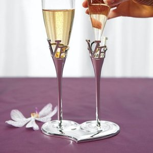 Removable Glass Flutes with LOVE Stems image