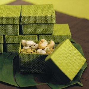 Organic Green Woven Favor Boxes (Set of 6) image