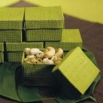 Organic Green Woven Favor Boxes (Set of 6)