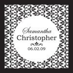 Personalized Ornamental Black & White Favor Tags (Set of 20)
