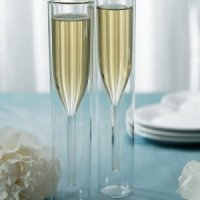 Modern Toasting Flutes with Double Wall Design