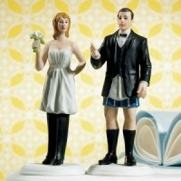 The Bride Wears the Pants Funny Wedding Cake Topper