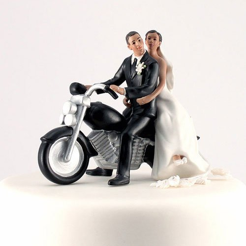 motorcycle couple wedding cake topper motorcycle wedding cake topper 3 skin tones 17606
