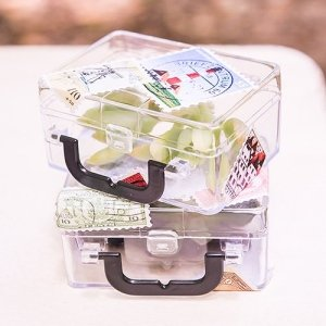 Miniature Clear Plastic Suitcase Party Favors (Set of 6) image