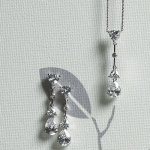 Cubic Zirconia Pear Drop Necklace & Earrings image