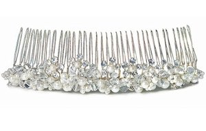 White Pearl & Crystal Flowers in Silver Hair Comb image