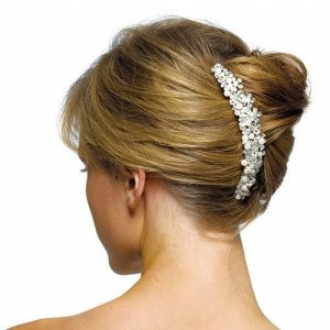 Ivory Pearls & Crystal Flowers Hair Comb image