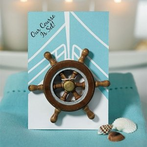 Boat Wheel 'Our Course is Set' Magnet Favor (Set of 6) image