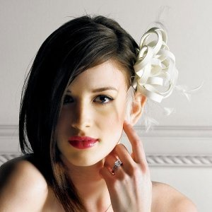 Feathers and Matte Satin Hair Accessory image