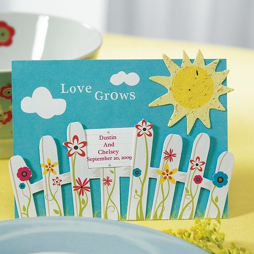 Set Of 10 Country Garden Flower Seed Wedding Favours With: Picket Fence & Sun Seed Paper Favors (Sets Of 12