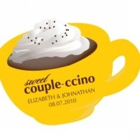 Couple-ccino Cup Shaped Stickers (Many Colors)