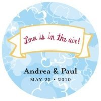 Personalized Love is in the Air Round Stickers