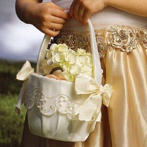 Embroidery and Bows Flower Girl Basket (White or Ivory) image