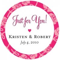 Floral 'Just For You' Personalized Wedding Stickers