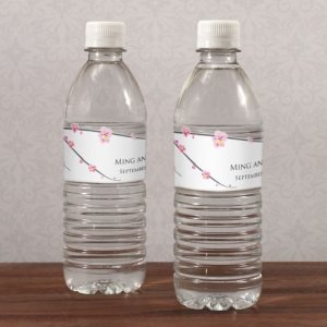 Cherry Blossom Labels for Water Bottles (10 Pack) image