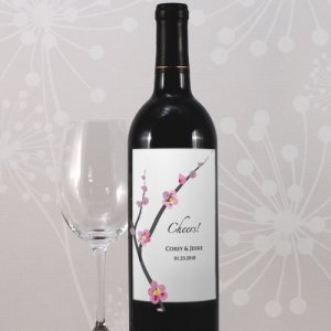 Cherry Blossom Custom Wedding Wine Labels (8) image