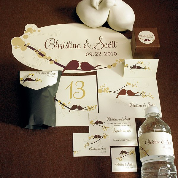 Square Love Birds Wedding Favor Tag Set Of 20