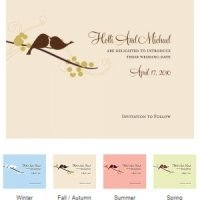 Love Bird Save the Date Cards (Set of 8 - 4 Colors)