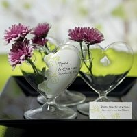 Miniature Clear Blown Glass Heart Vase (Set of 4)