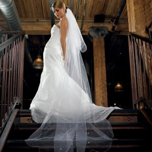 2-Tier White Floor Length Beaded Veil image