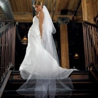 2-Tier White Floor Length Beaded Veil
