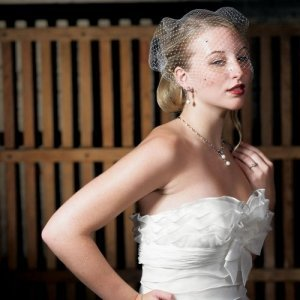 Bird Cage Style Veil - White or Ivory (Crystals Option) image