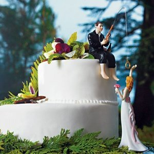 'Hooked on Love' Fishing Groom Wedding Cake Topper image