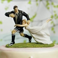 Love Match Rugby Couple Cake Topper