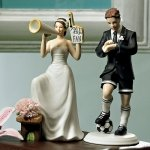 Number 1 Fan Cheering Bride Mix and Match Cake Topper