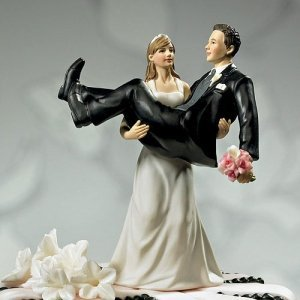 To Have and to Hold Wedding Couple Cake Topper image