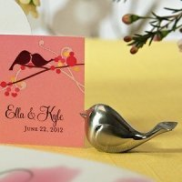 Brushed Silver Love Bird Placecard Holders (Set of 8)