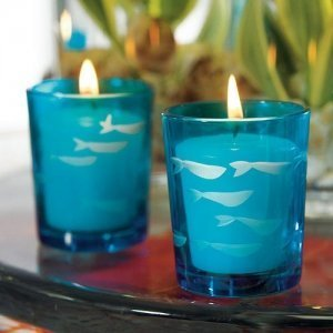 Tropical Blue Glass Fish Tea Light Holders (Set of 8) image