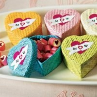 Woven Heart Shaped Box with Lid (Set of 6)