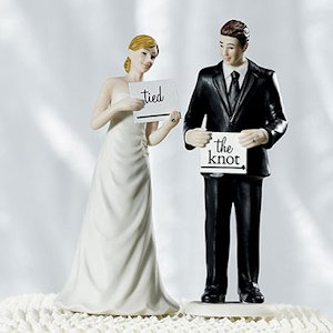 Read My Sign - Bride and Groom Cake Toppers (Mix & Match) image