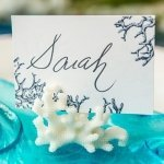 Coral Design Place Card Holders - Set of 8