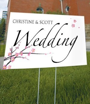 Personalized Cherry Blossom Outdoor Wedding Sign image