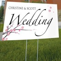 Personalized Cherry Blossom Outdoor Wedding Sign