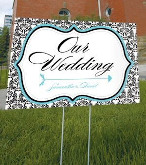Love Bird Damask Outdoor Wedding Sign image