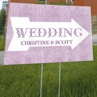Personalized Pointing Arrow Outdoor Wedding Sign (6 Colors)